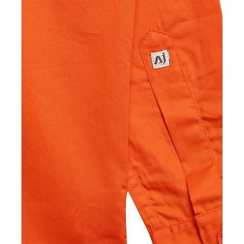 AJ Dezines Solid Full Sleeves Shirt - Orange