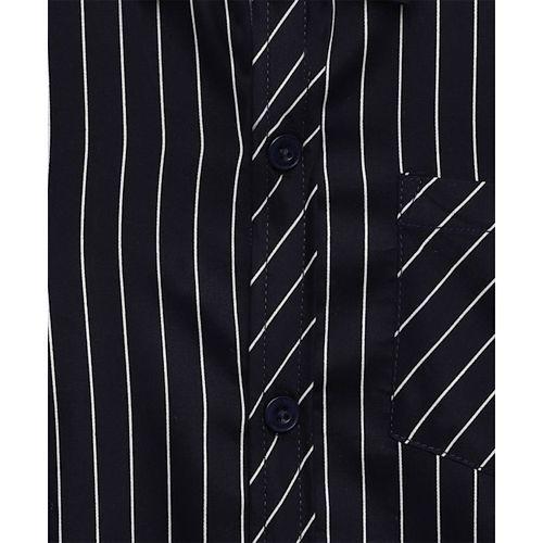 AJ Dezines Striped Full Sleeves Shirt - Dark Blue