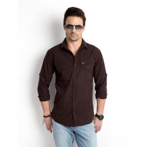 Rodid Brown Cotton Solid Casual Shirt