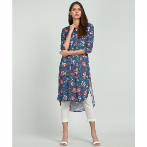 Biba Women Printed High Low Kurta(Blue)
