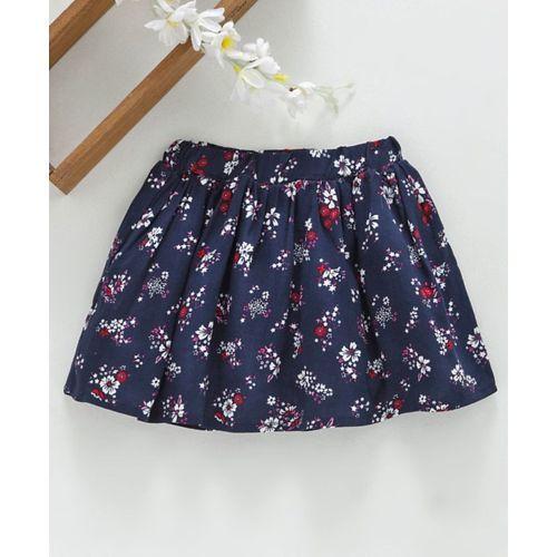 Babyhug Mid Thigh Length Skirt Floral Print - Navy Blue