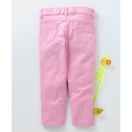 Babyhug Full Length Solid Trouser - Light Pink