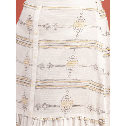 Taavi Women White & Mustard Yellow Hand Block Print Legacy Maxi Skirt with Gathers