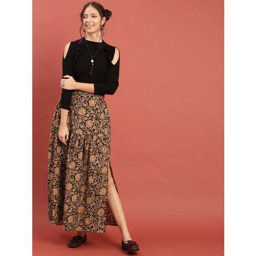 Taavi Women Coffee Brown & Green Kalamkari Hand Block Print A-Line Skirt with Slit