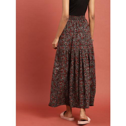 Taavi Women Black & Grey Hand Block Print Legacy Maxi Flared Skirt with Gathers