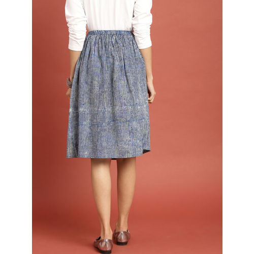 Taavi Women Blue Dyed Striped Indigo Hand Block Print A-Line Skirt with Gathers & Pockets