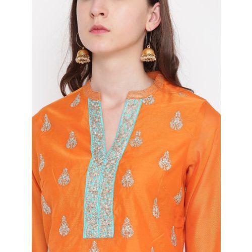 Biba Women Orange Embroidered Straight Kurta