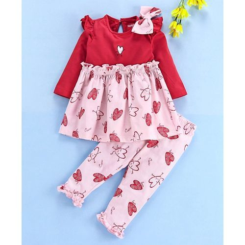 Cucumber Full Sleeves Frock With Leggings Heart Print - Red