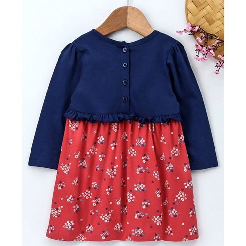 Babyhug Frock With Attached Shrug Floral Print - Blue Pink