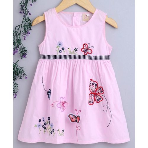 Kookie Kids Sleeveless Frock With Butterfly Embroidery - Pink