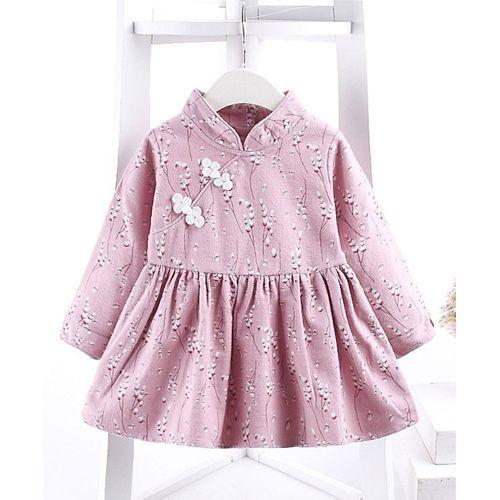 Pre Order - Awabox Flower Printed Full Sleeves Dress - Pink