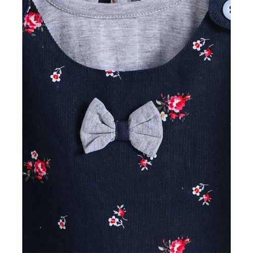 Dew Drops Corduroy Frock With Full Sleeves Inner Tee Floral Print - Navy Blue