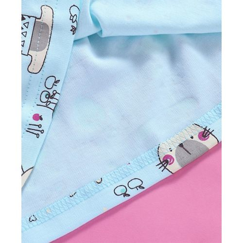 Baby Naturelle & Me Full Sleeves Bunny Print Frock Bow Applique - Blue