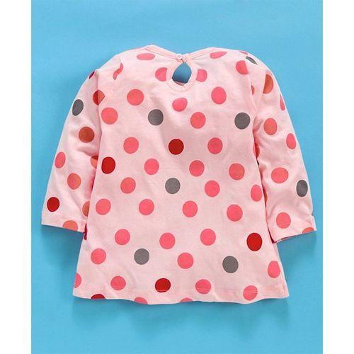 Tango Full Sleeves Frock Polka Dots Print - Light Peach
