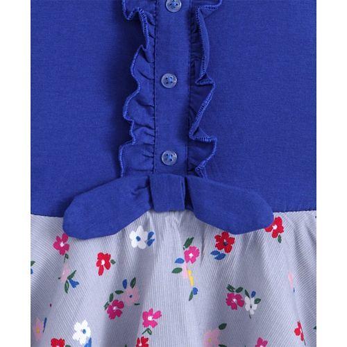 Dew Drops Full Sleeves Frock Floral Print - Blue