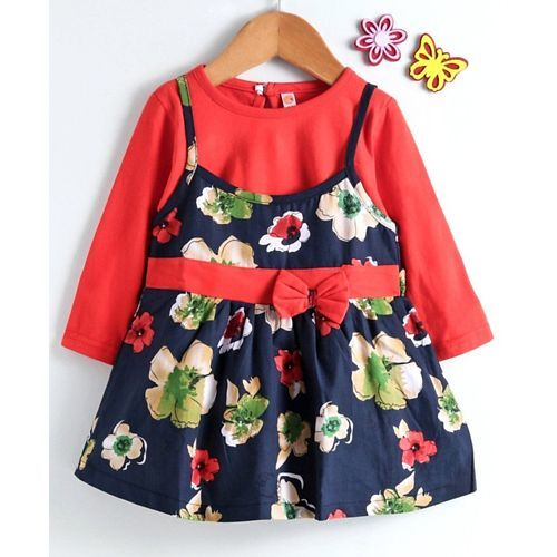 Dew Drops Frock With Full Sleeves Inner Tee Floral Print - Navy Blue
