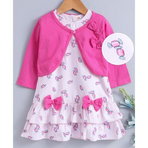 Dew Drops Frock With Full Sleeves Shrug Bow Applique - Pink