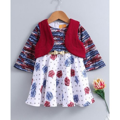 Yellow Duck Rose Flower Print Full Sleeves With Jacket - Maroon