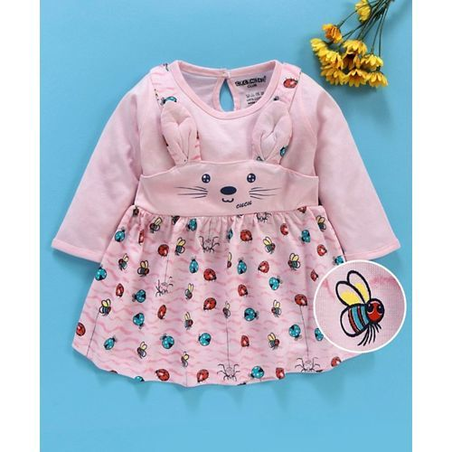 Cucumber Full Sleeves Frock Bunny Design - Pink