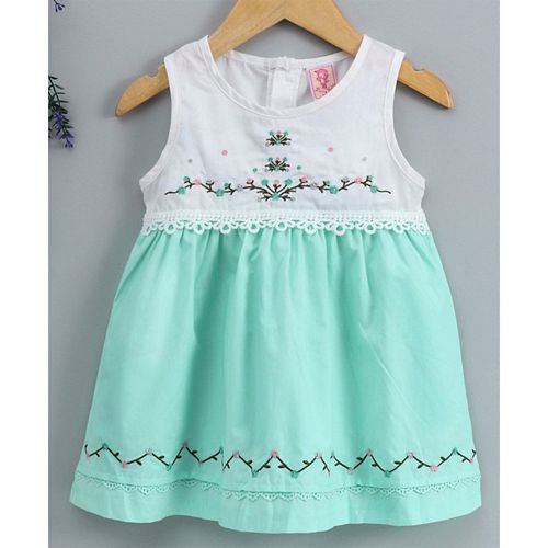 Sunny Baby Sleeveless Frock Floral Embroidery - Green