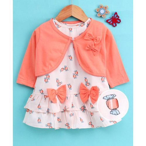Dew Drops Frock With Full Sleeves Shrug Bow Applique - Peach