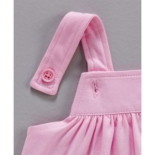 ToffyHouse Dungaree Style Frock With Inner Tee Animal Patch - Pink