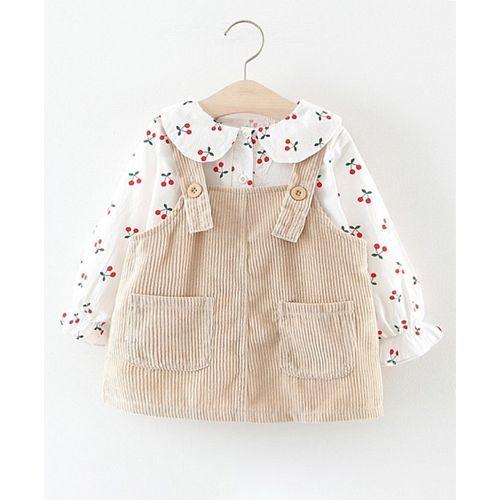 Pre Order - Awabox Cherry Printed Long Sleeves Shirt & Dungaree Dress Set - Beige