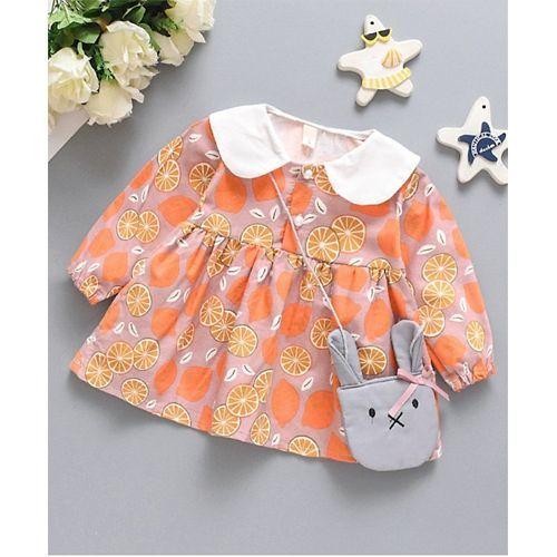 Pre Order - Awabox Lemon Print Full Sleeves Dress - Pink