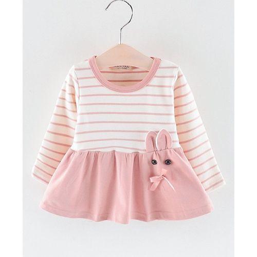 Pre Order - Awabox Striped Full Sleeves Flare Dress - Light Pink