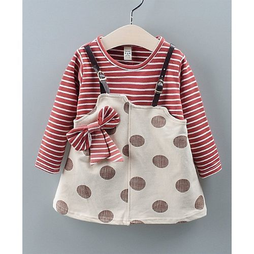 Pre Order - Awabox Striped Bow Detailed Polka Dot Print Full Sleeves Dungaree Style Dress - Red