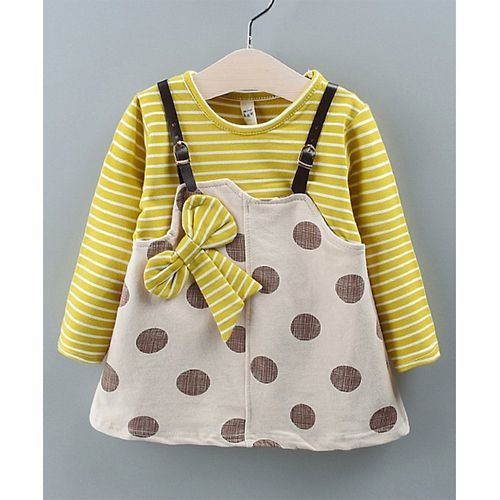 Pre Order - Awabox Striped Bow Detailed Polka Dot Print Full Sleeves Dungaree Style Dress - Yellow
