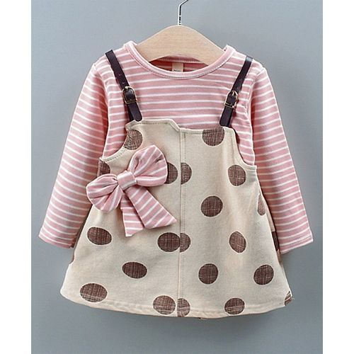 Pre Order - Awabox Striped Bow Detailed Polka Dot Print Full Sleeves Dungaree Style Dress - Light Pink