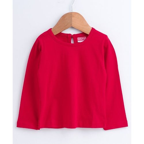 Babyhug Full Sleeves Corduroy Frock With Inner Tee Floral Print - Red Navy Blue
