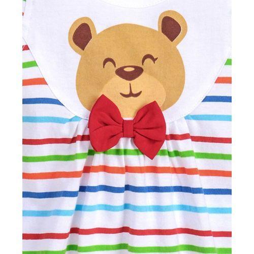 Babyhug Cap Sleeves Striped Frock Teddy Print - White