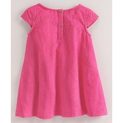 Babyoye Corduroy Frock Butterfly Embroidered - Pink