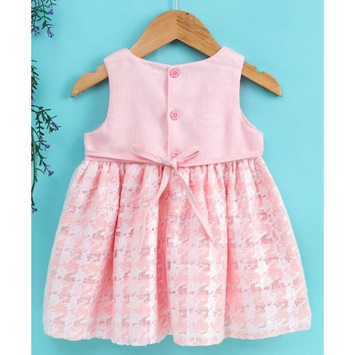 Sunny Baby Sleeveless Frock Floral Applique - Pink