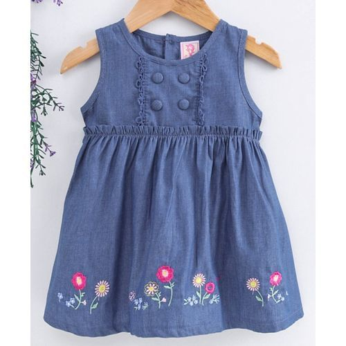 Sunny Baby Sleeveless Denim Frock Floral Embroidered - Dark Blue