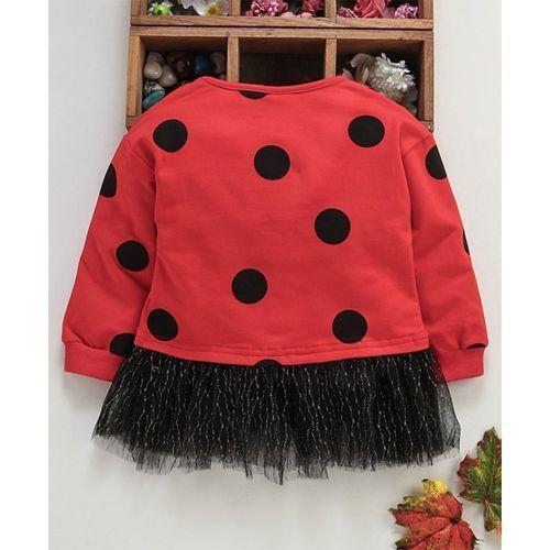 Meng Wa Full Sleeves Frock Polka Dot Print - Red