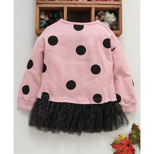 Meng Wa Full Sleeves Frock Polka Dot Print - Pink