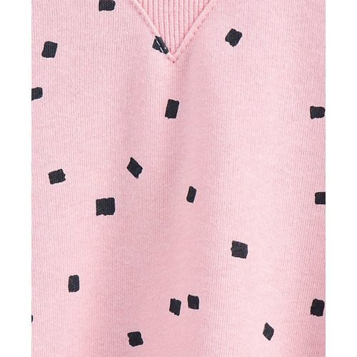 Fox Baby Full Sleeves Printed Frock - Pink