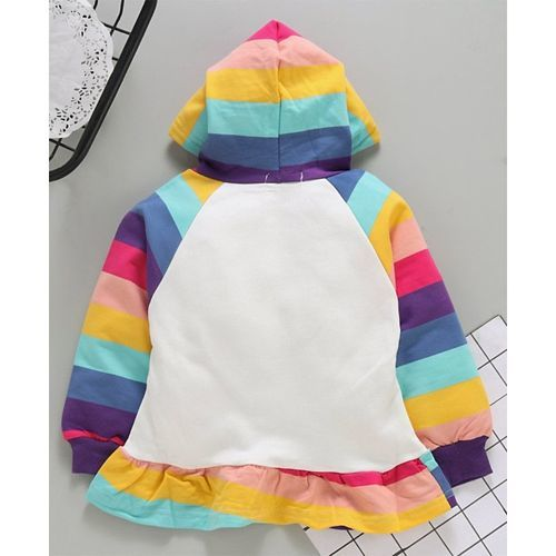 Kookie Kids Full Sleeves Hooded Frock Rainbow Print - Blue Multicolour