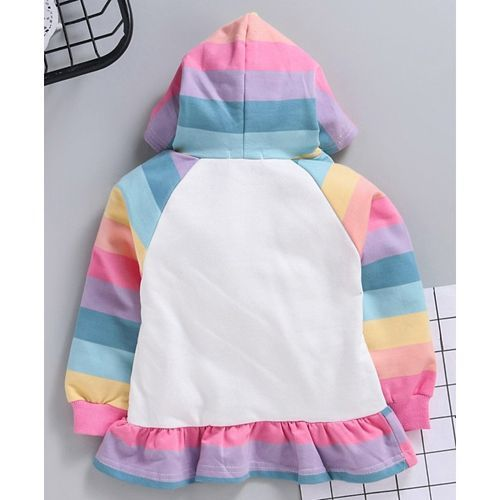Kookie Kids Full Sleeves Hooded Frock Rainbow Print - Pink Multicolour