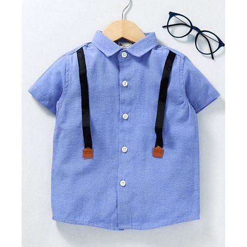 Kookie Kids Half Sleeves Shirt Mock Suspender Design - Blue