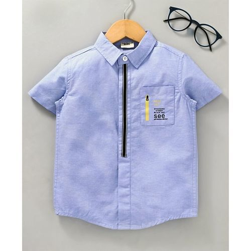 Kookie Kids Half Sleeves Shirt With Printed Pocket - Blue