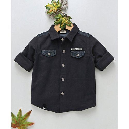 Kookie Kids Solid Full Sleeves Shirt - Black