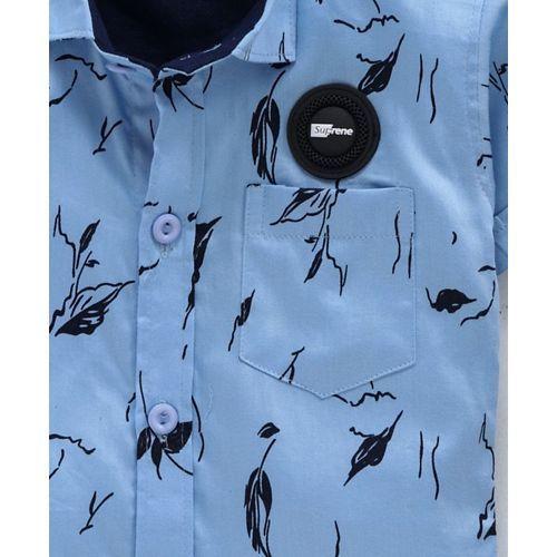 Dapper Dudes Leaves Print Half Sleeves Shirt - Blue