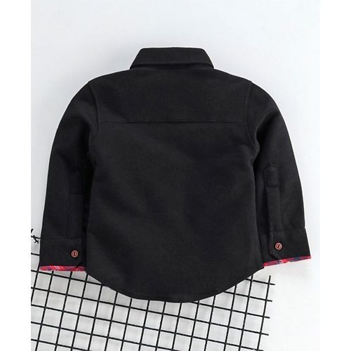 Little Kangaroos Full Sleeves Party Wear Shirt With Bow - Black