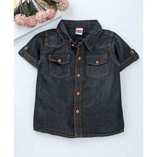 Babyhug Half Sleeves Solid Denim Shirt With Chest Pockets - Black