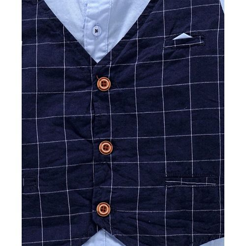 ZY & UP Full Sleeves Shirt With Attached Checks Waistcoat - Blue