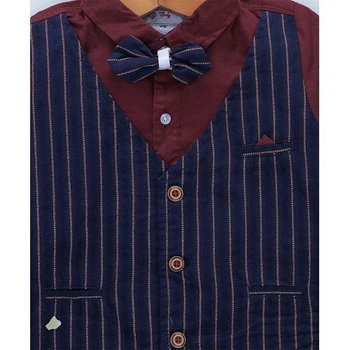 ZY & UP Full Sleeves Shirt With Striped Waistcoat & Bow - Maroon